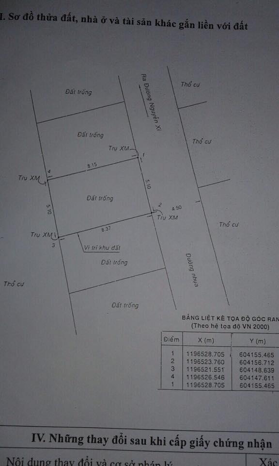 Bán đất HXH Nguyễn Xí phường 13 Bình Thạnh 5.1x8.2m 1.87 tỷ